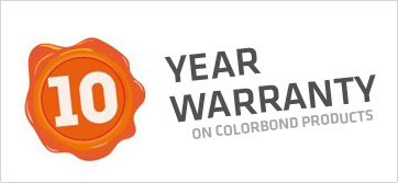 10 year Warranty on Colorbond Products from Colorbond Supplier